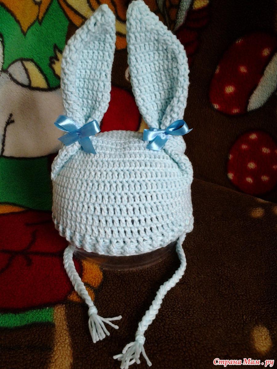 Вязание спицами шапочка зайчик 4