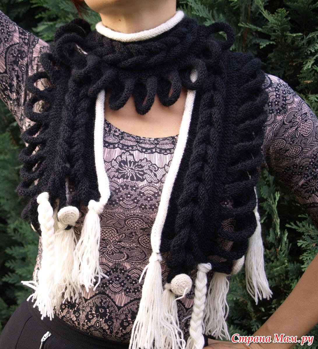 Вязание шарфа с красивым краем