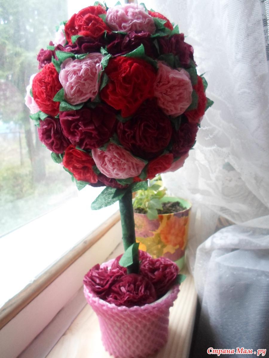 Топиарий из салфеток розы пошаговая инструкция фото