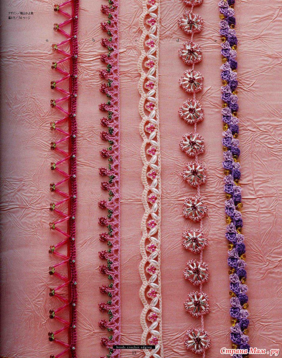 Мастер-класс: Бисерная вышивка обычным крючком для вязания.  Лённа.  Часть 4 - Кайма, тесьма с бисером. (крючок)...