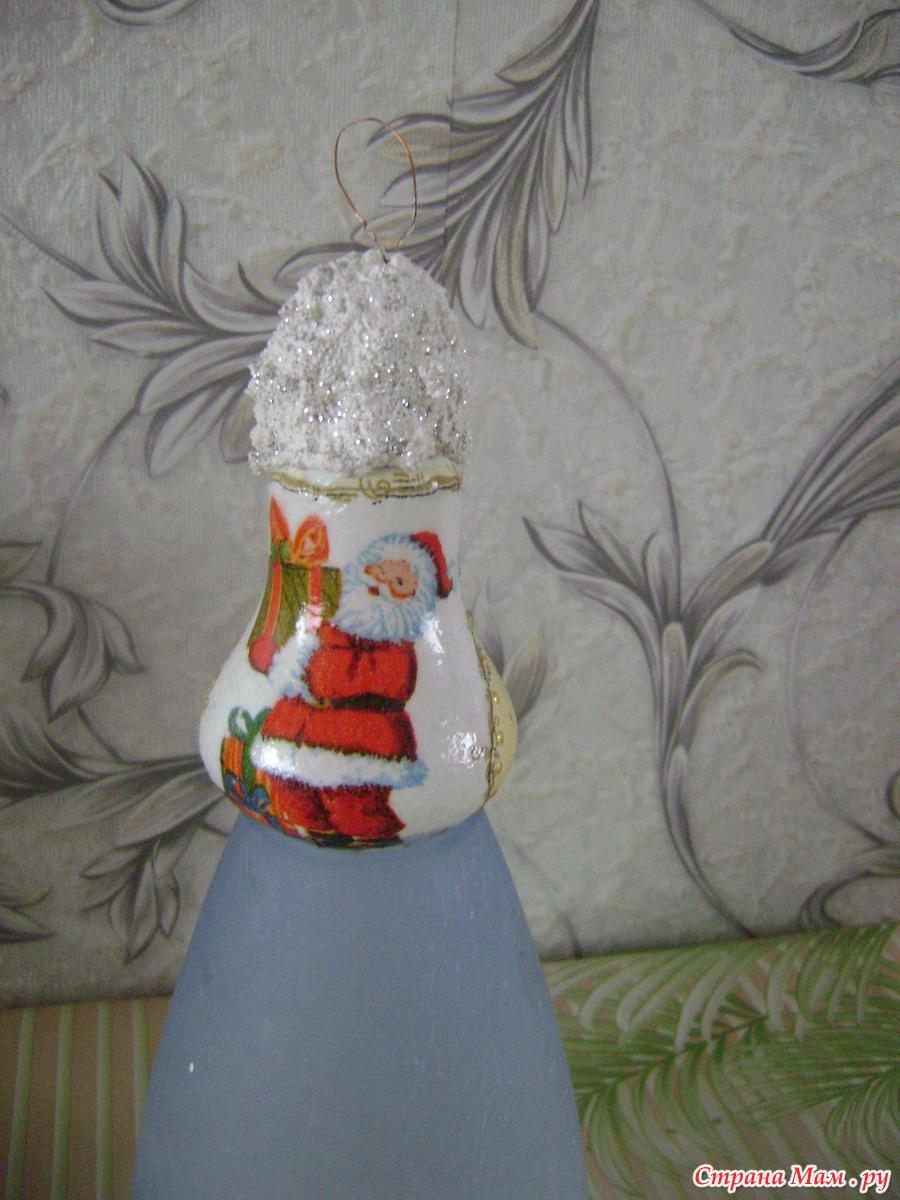 Елочные игрушки из лампочек своими руками фото