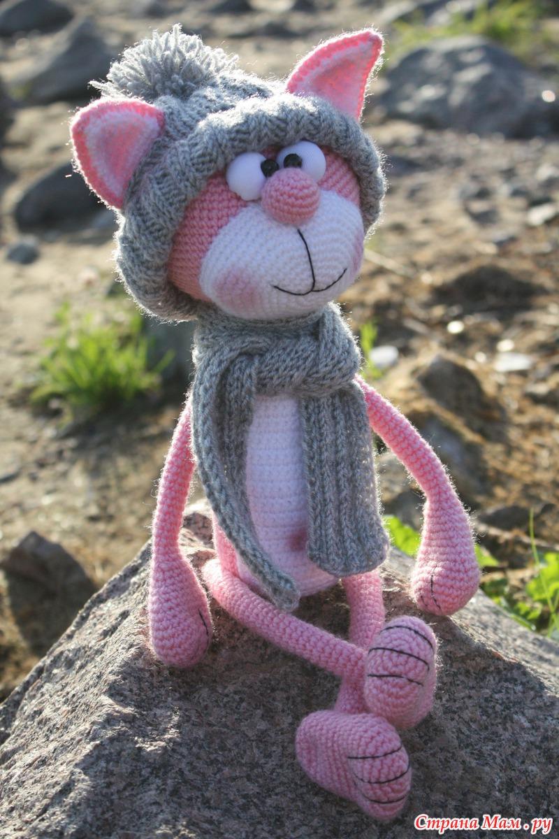 вязание крючком сердечко кот