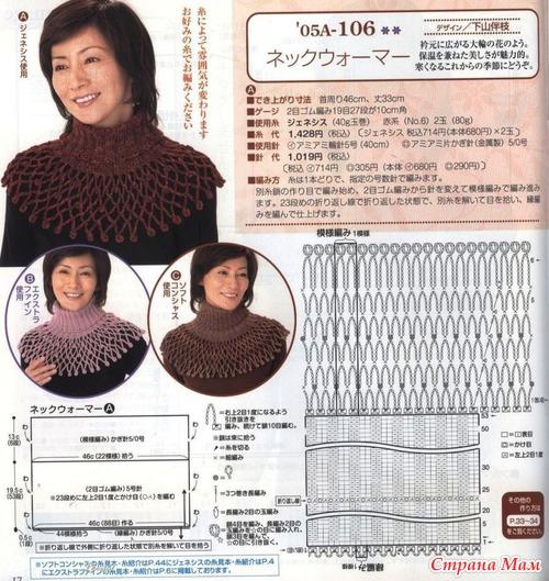 Вязание крючком и спицами манишка для женщин