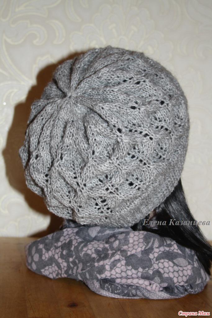 Осенняя шапка спицами от Drops