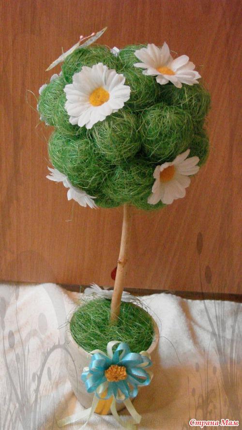 Топиарий цветы из сизаль