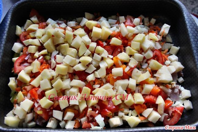 мясо с картошкой с баклажанами в духовке
