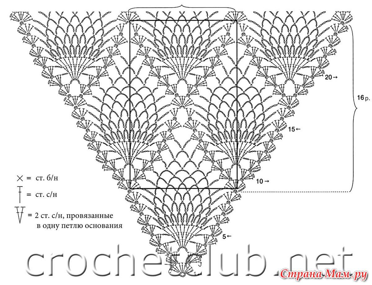 Схема вязания крючком шали виноград фото 959