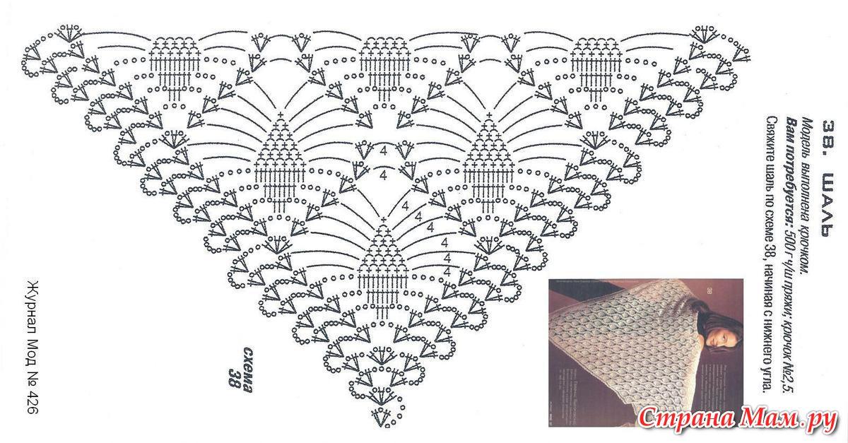 вязание ажурной шали видео