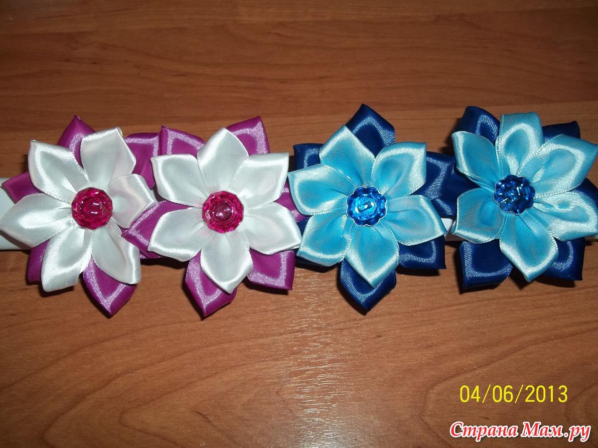 Красивые банты для девочек из атласных лент своими руками 19