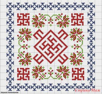 Цветок папоротника схема вышивки