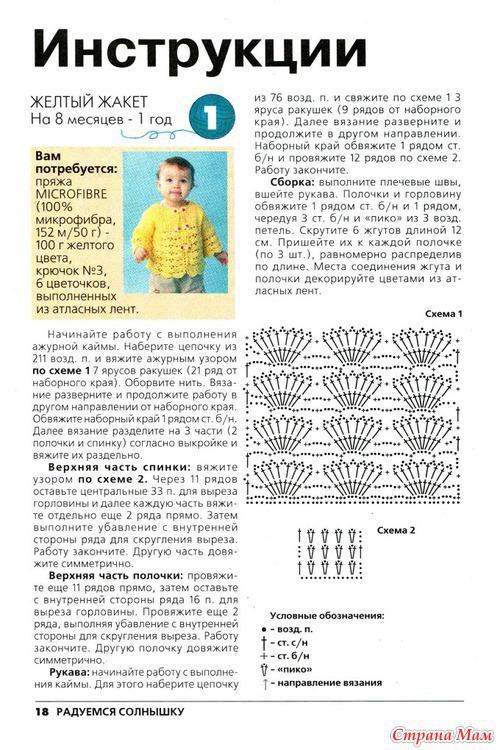 Схема вязания спицами кофточки для малышей для начинающих