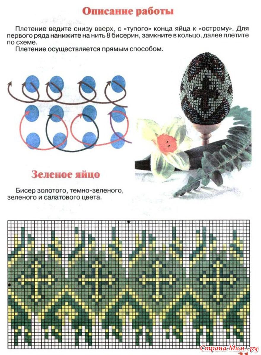 Схемы плетение яиц из бисера схемы плетения