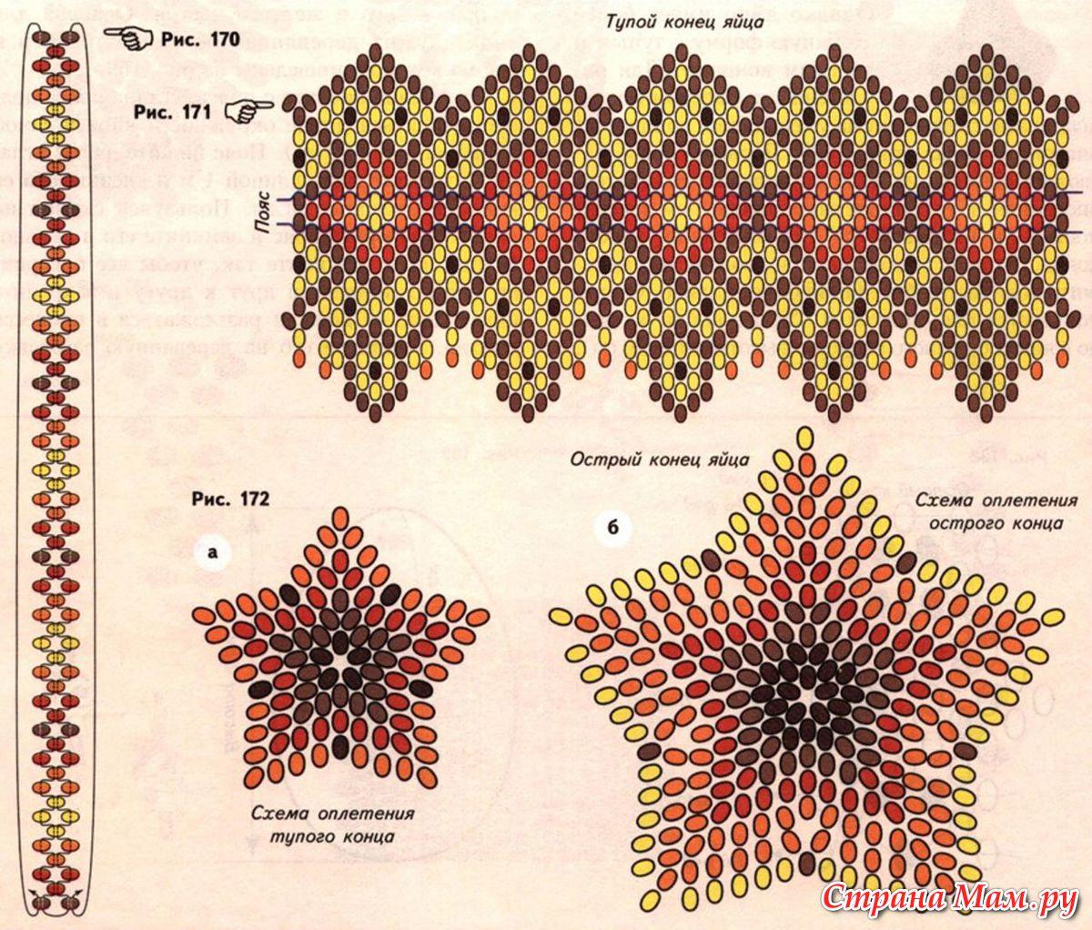 схема пасхального сувенира из бисера. схема плетения яйца к пасхе.