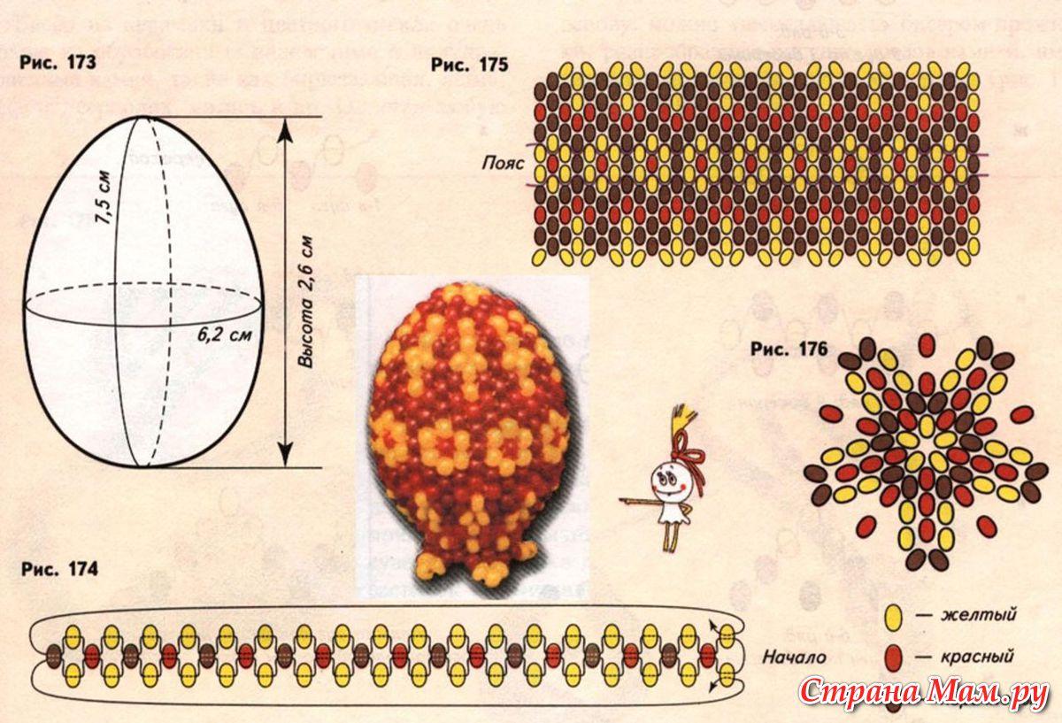 Откуда появился обычай разукрашивать на Пасху яйца? .  Еще задолго до. .  ПОЯСНЫЕ ЯЙЦА Уроки плетения бисером, схемы.