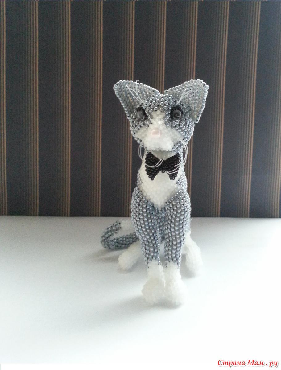 объёмная кошка из бисера схема плетения.