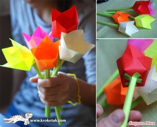 Цветы маме к 8 марта своими руками