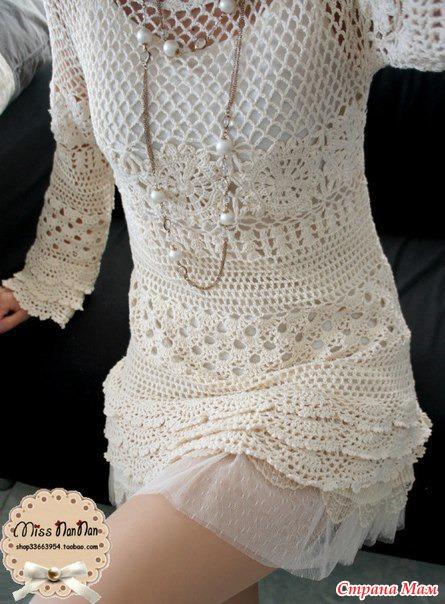 Вязаное платье крючком очень красивое