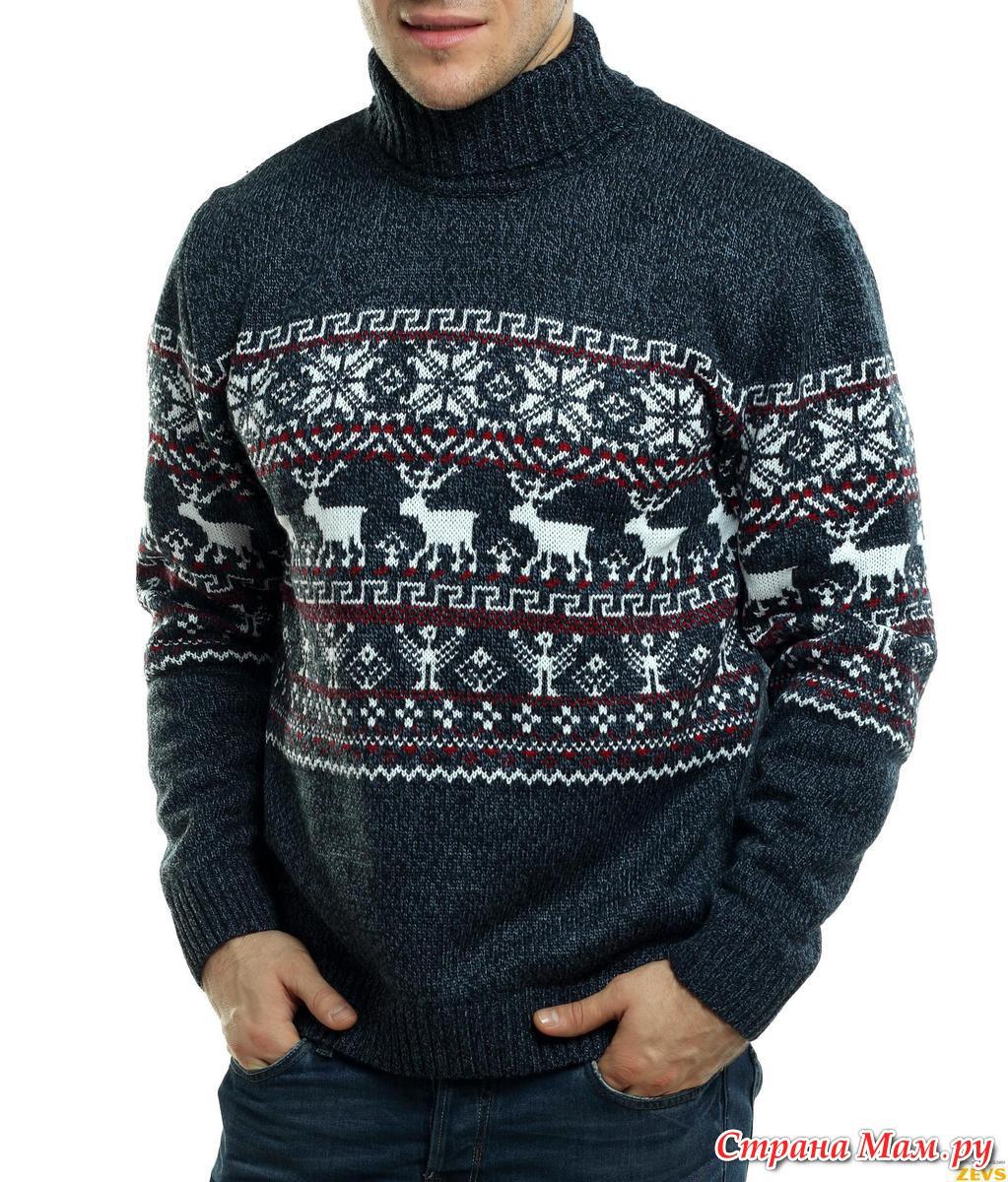 Вязаный свитер с оленями схема