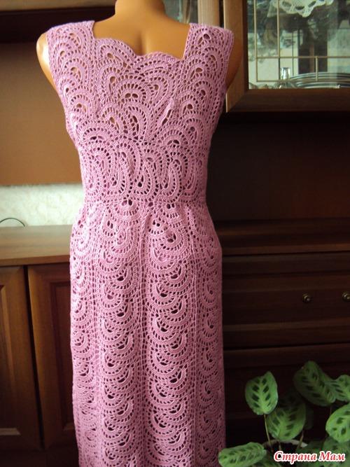 Вязание крючком платье из ленточного кружева