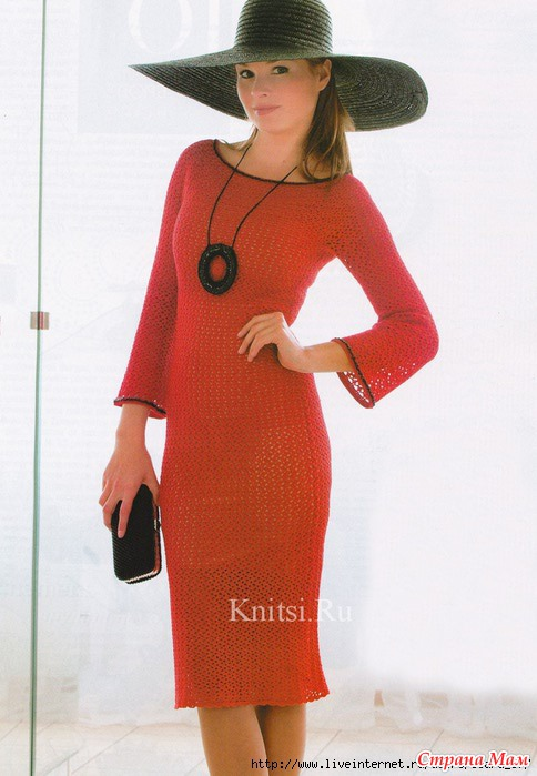 Красное платье вязанное крючком