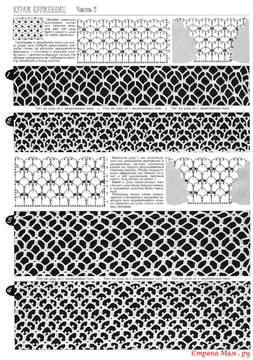 фоновые узоры крючком со схемами