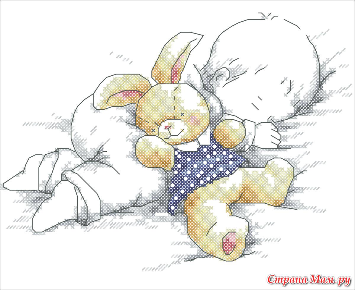 Вышивка крестом мальчик спит