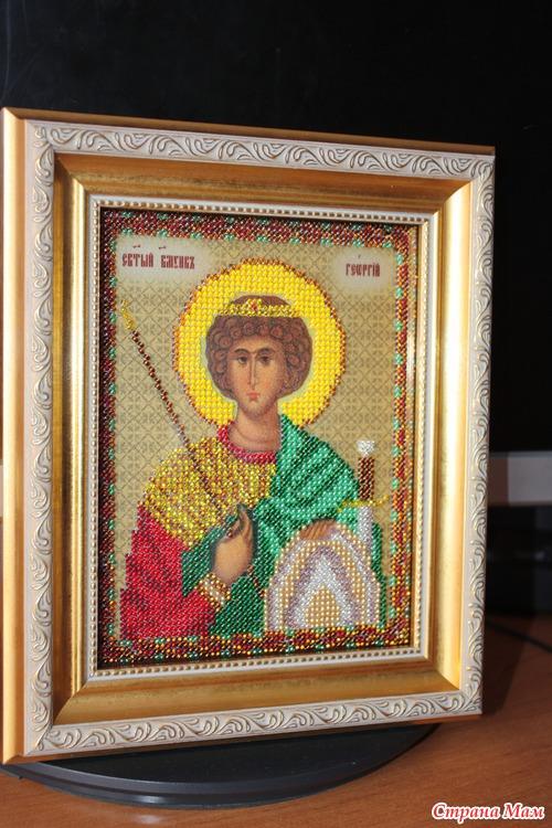 Икона Ангела-Хранителя для сынульки.  Икона св. Георгия в подарок крестнику мужа.  Вышивка бисером затягивает, я...