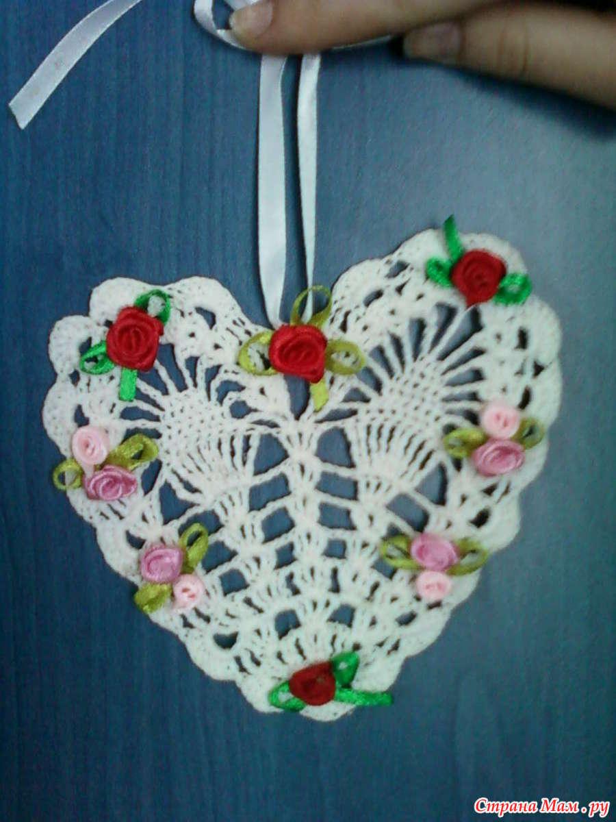 Вязание крючком ажурного сердечко