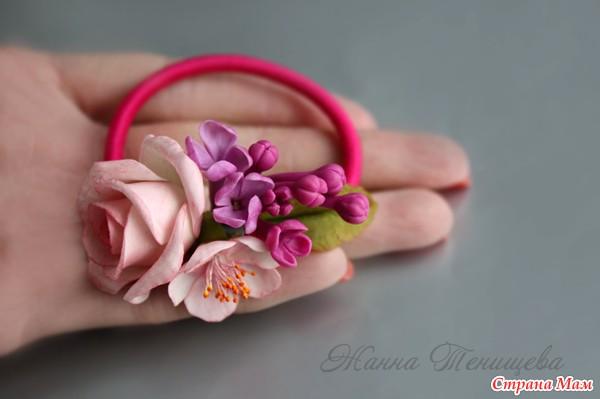 Резинка цветок для волос своими руками