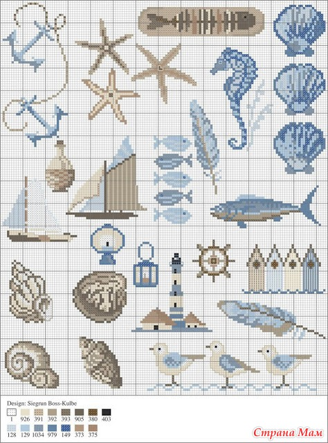 Схемы вышивок на морскую тематику