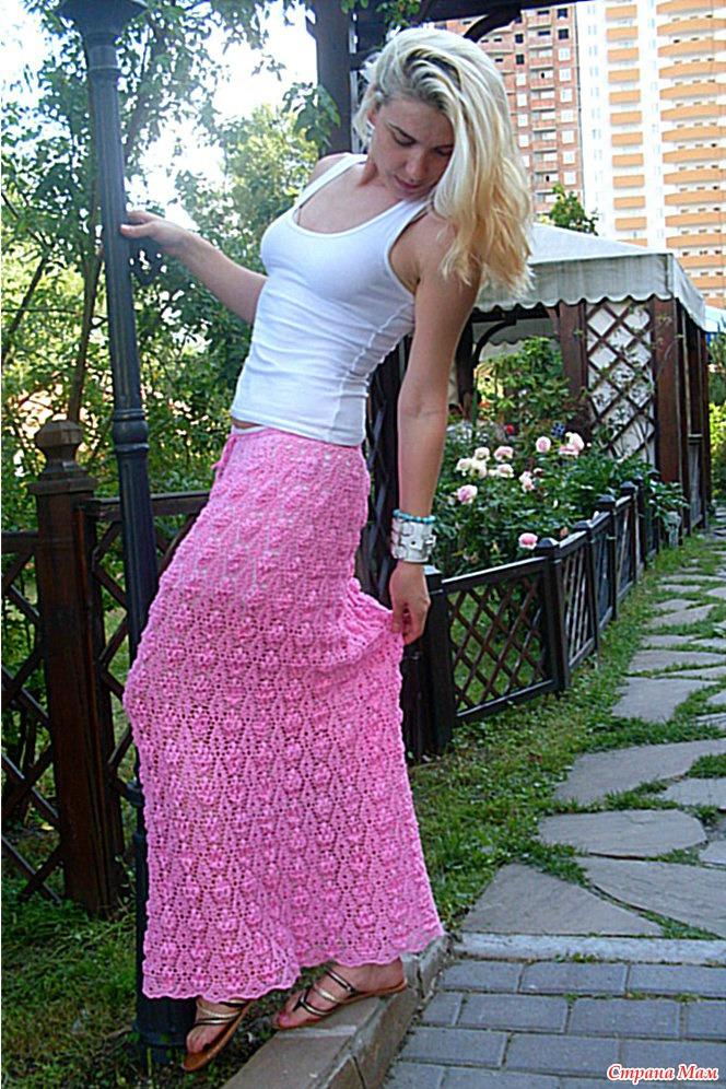 Юбка крючком розовая