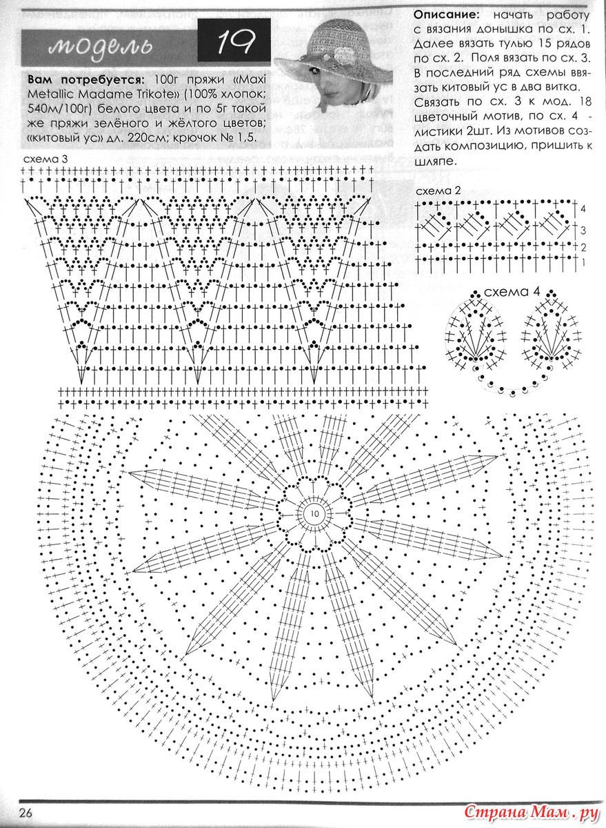 Шляпки вязанные крючком с маленькими полями схемы описание