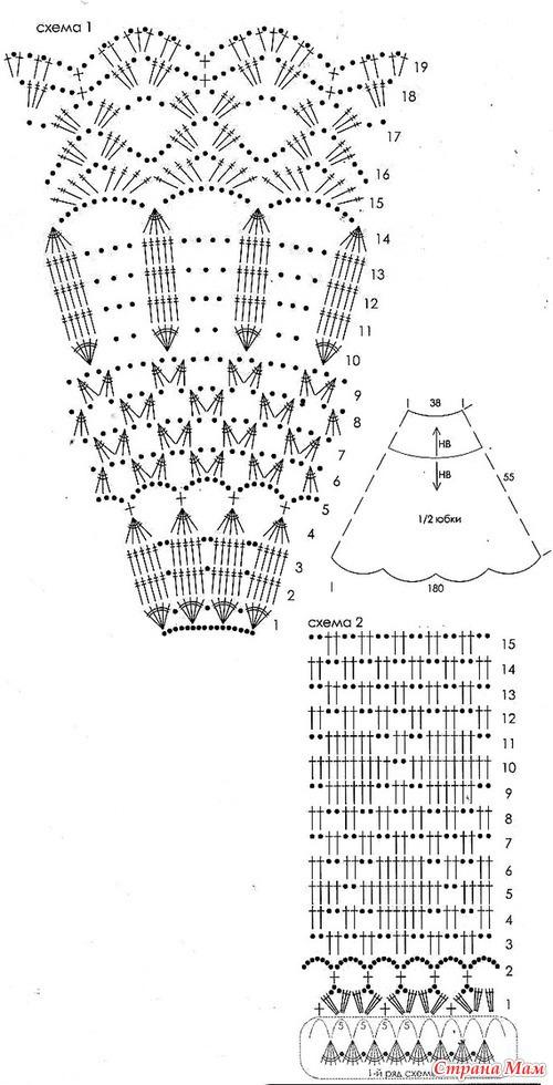 Вязание крючком ажурной юбки с описанием