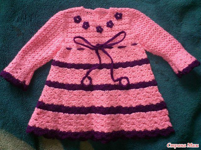 Платья теплые крючком для девочек вязать