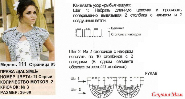 Описание вязания крючком узора чешуйки