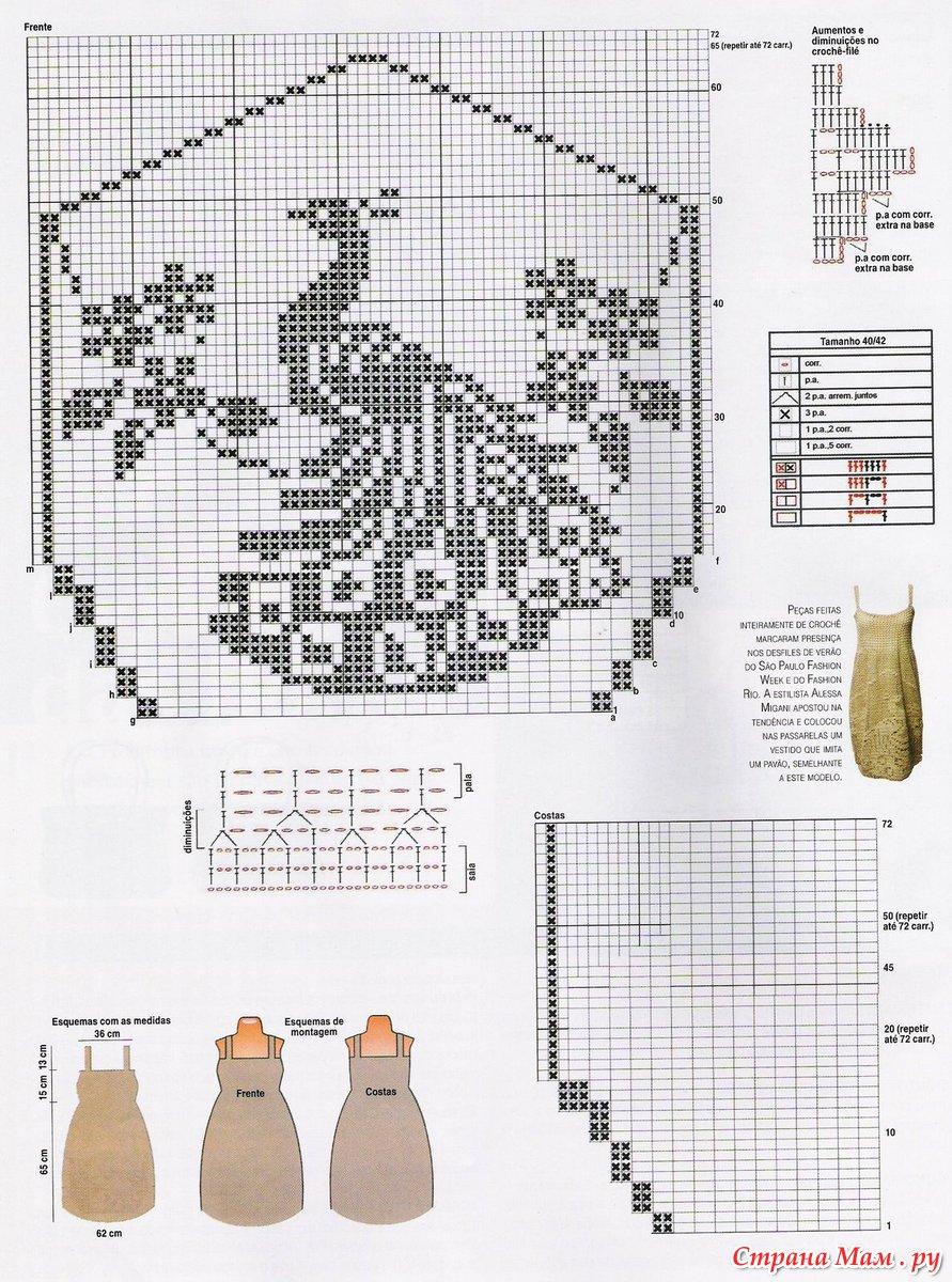 Схема вязания крючком павлинье