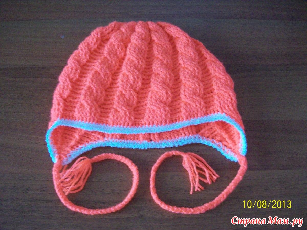 Вязание шапок узором коса с тенью