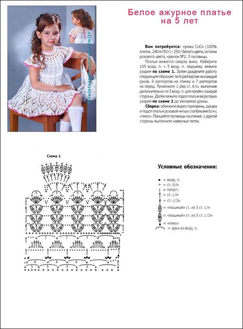 Вязание детских платья крючок со схемами