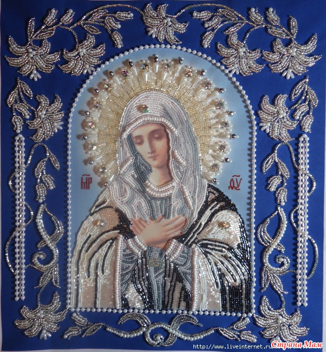 Вышивка бисером иконы умиление фото