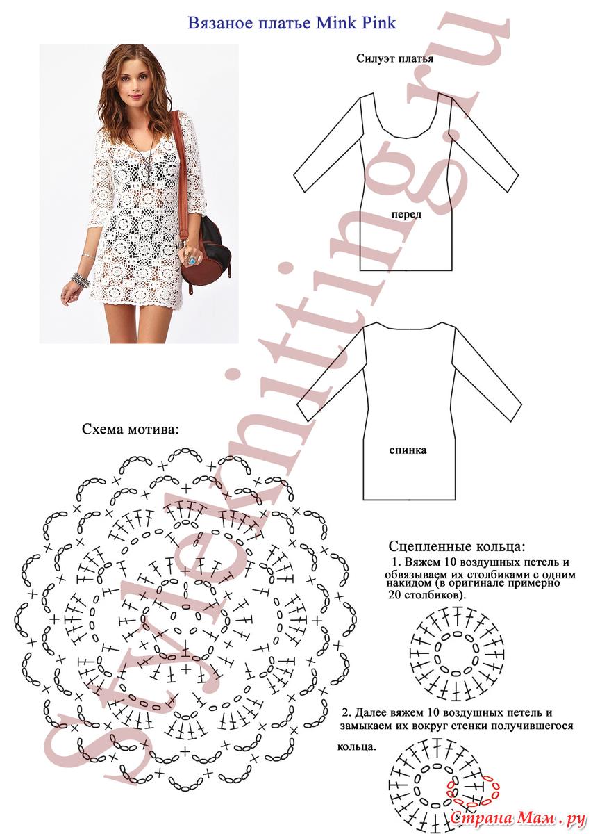 Как вязать пляжное платье схема