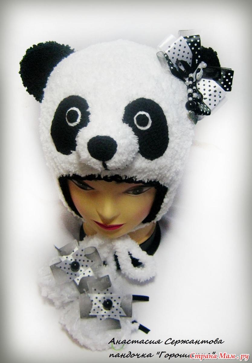 панда шапка схема крючком
