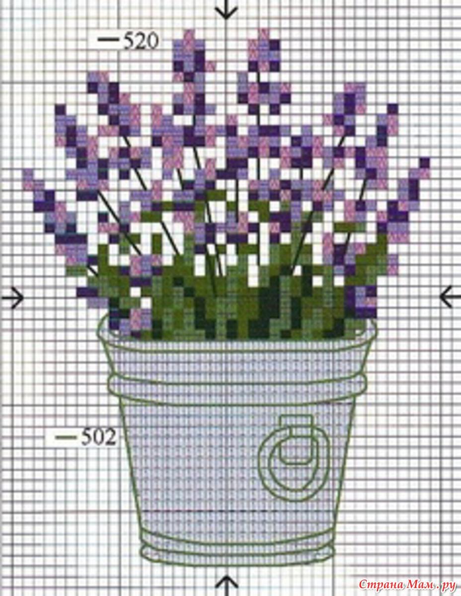 Схема цветы в горшках схема вышивка