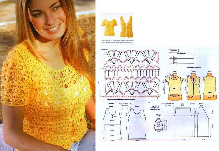 Вязание крючком для женщин топы блузки
