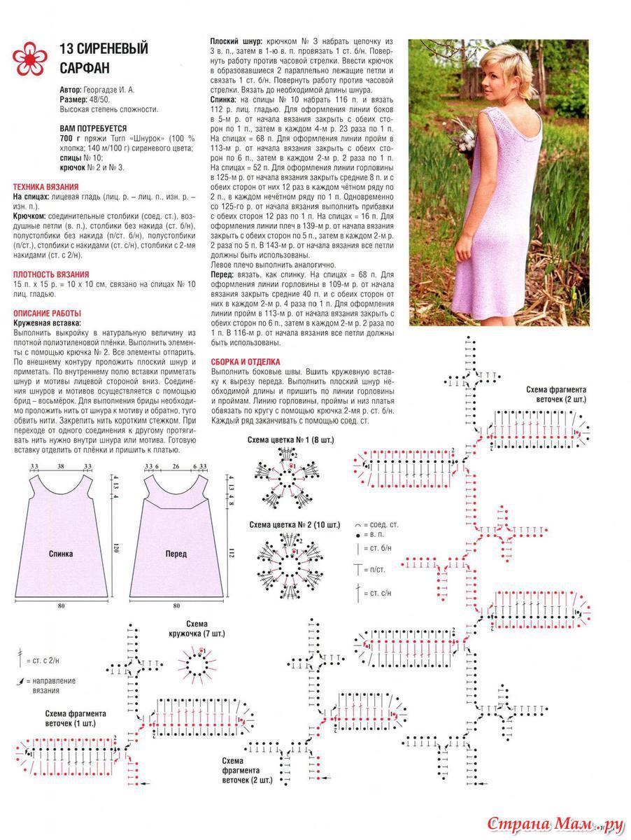 Сиреневое платье крючком со схемами