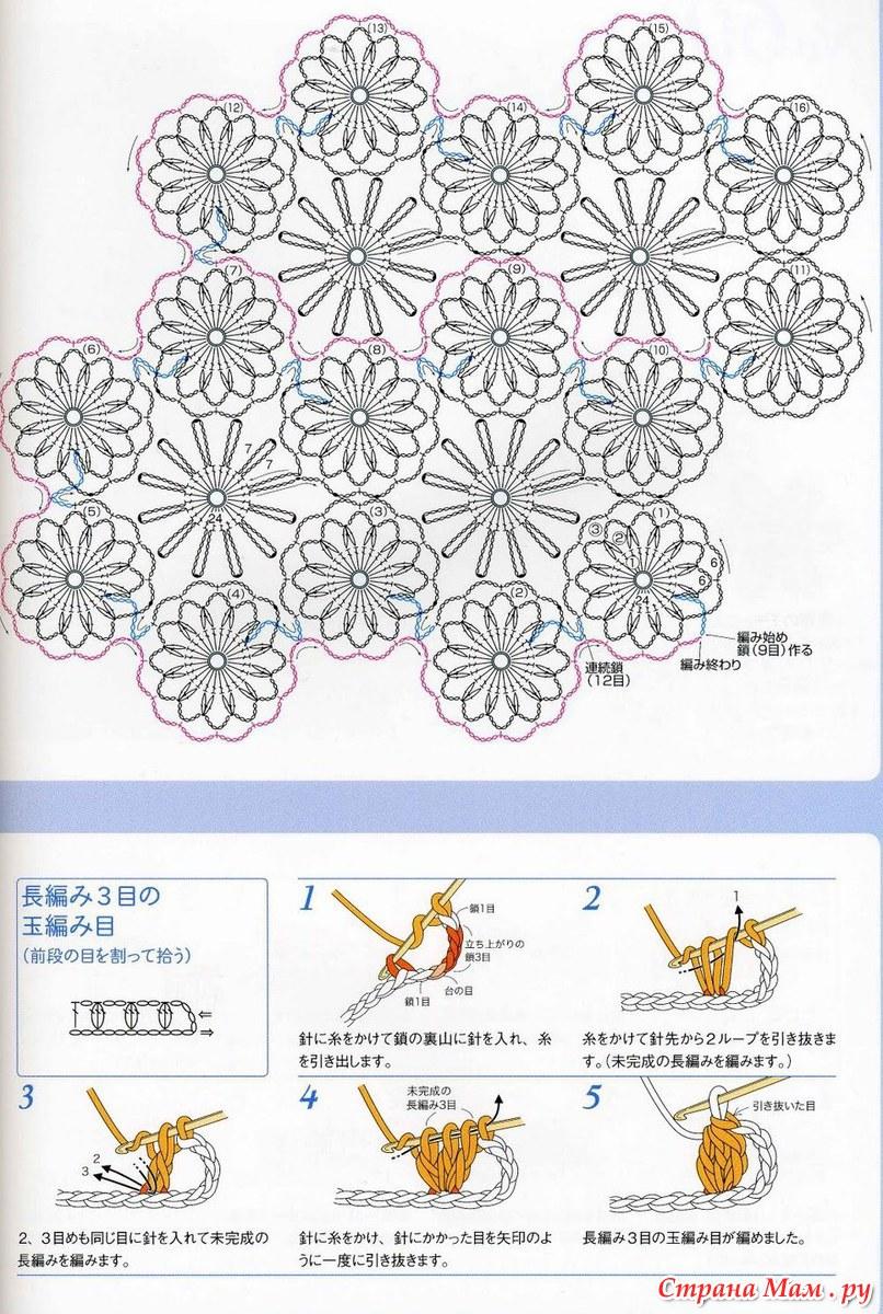 Вязание крючком схемы мотивов ромашек