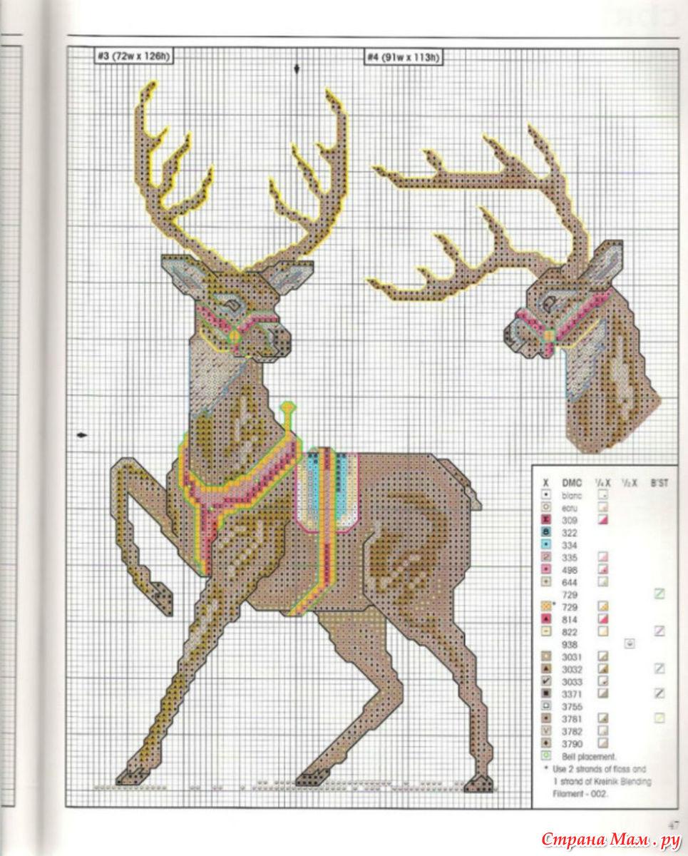 Схема вышивки оленя крестом скачать