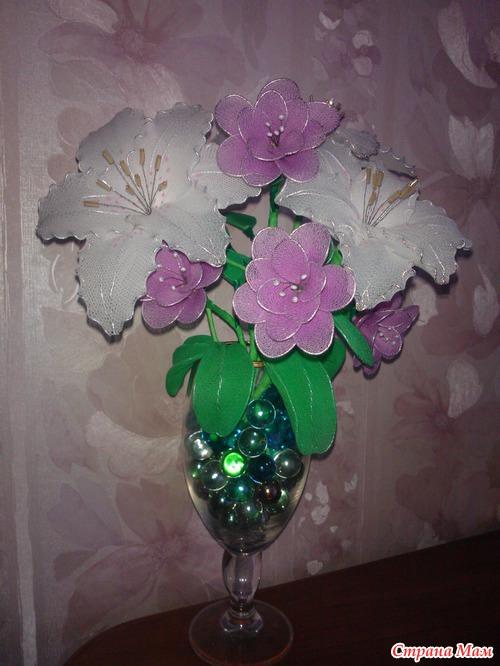 Цветы из капроновых колготок.
