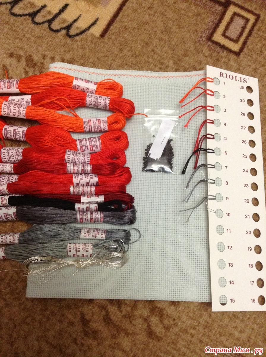 Вышивка алые маки риолис номера ниток