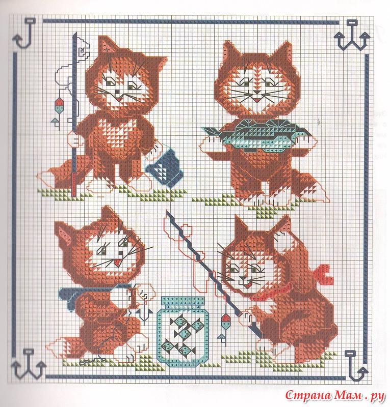 вышивка схема кот рыбак