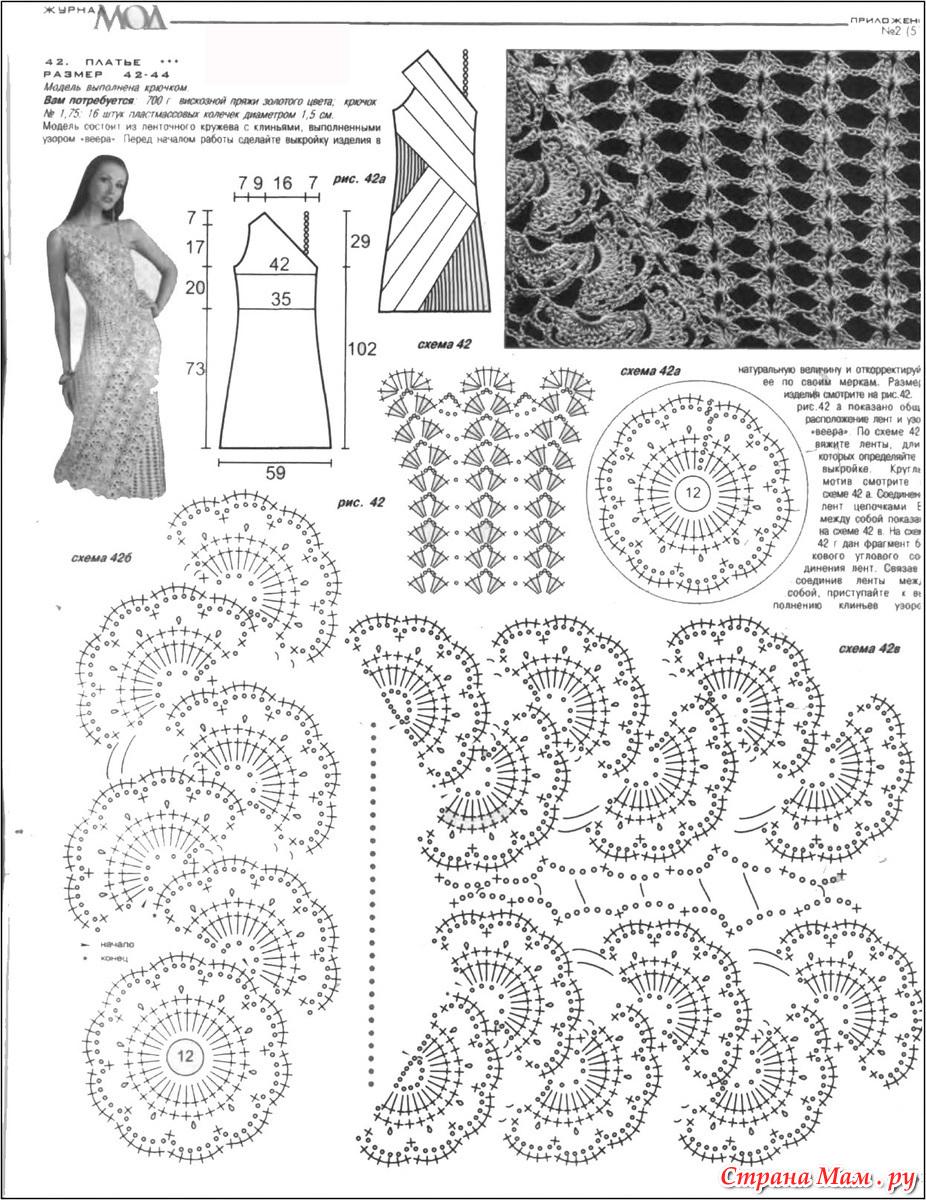 Платья из ленточное кружево крючком схемы